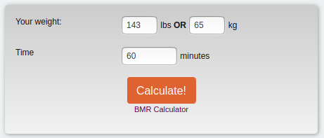 BMR calculator screenshot