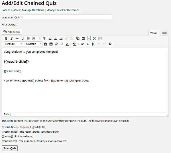 Chained Quiz Screenshot
